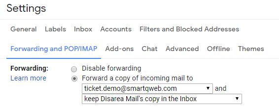 Gmail Forwarding settings