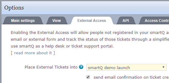 smartQ External Access settings